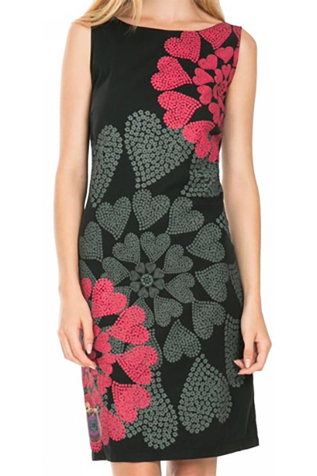 Černé srdíčkové šaty Desigual