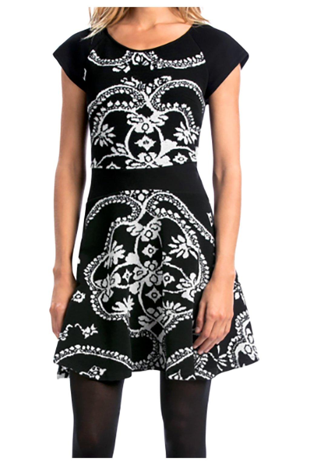Černé nabírané šaty se vzory Desigual