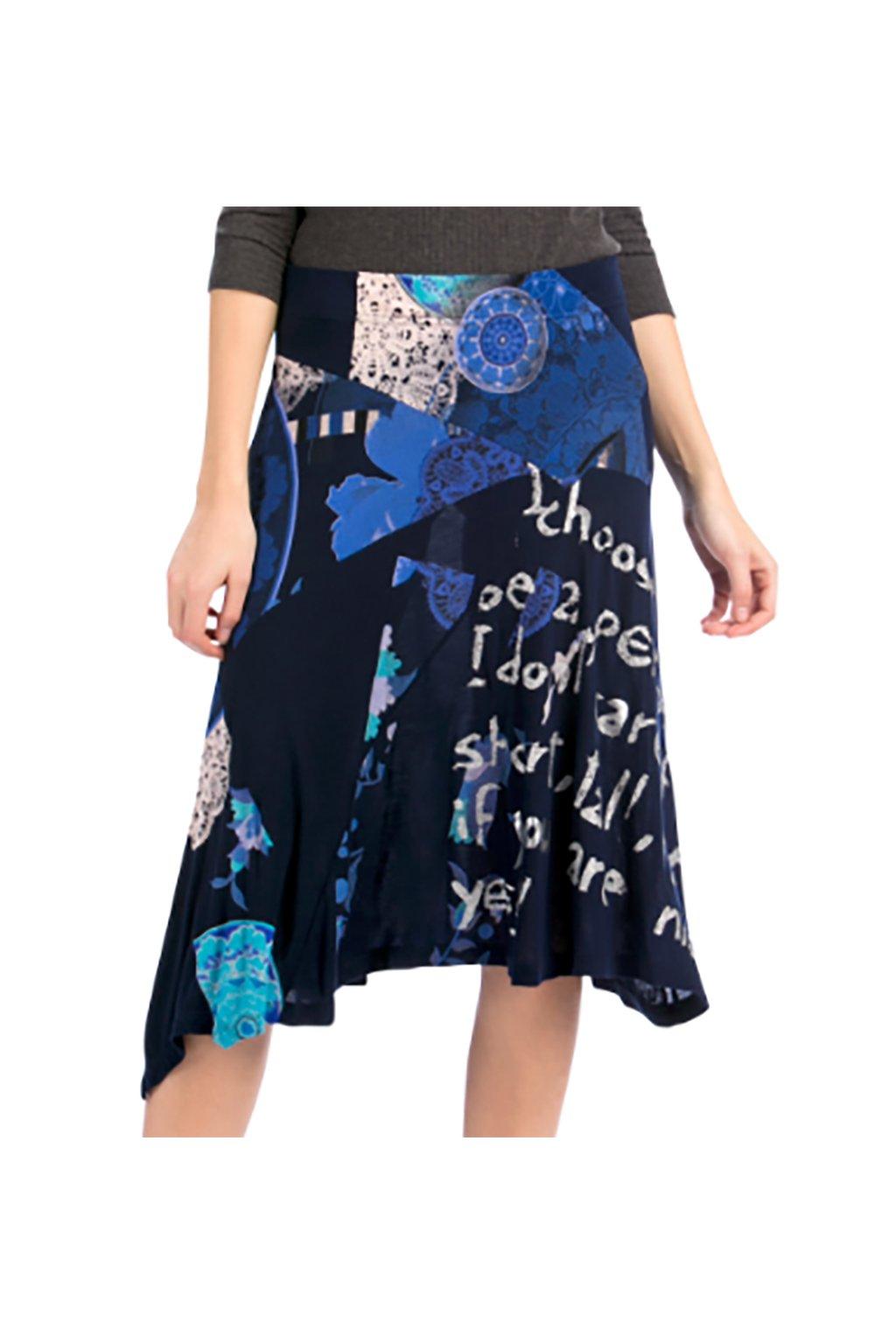 Modrá sukně se stříbrnými nápisy Desigual