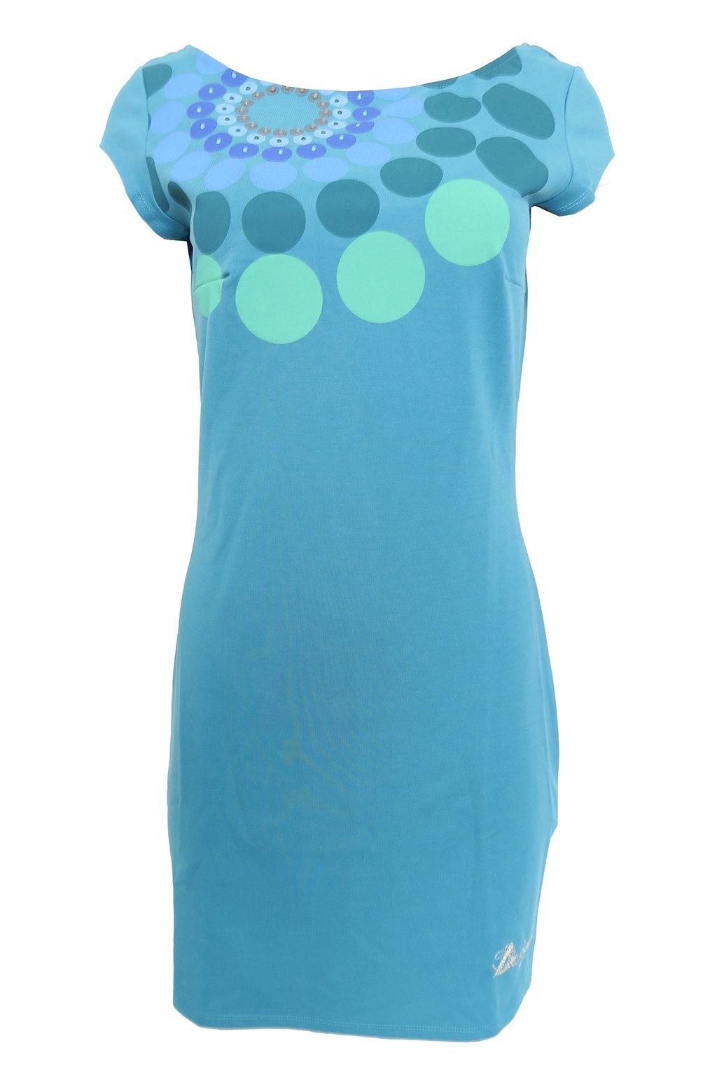Tyrkysové šaty s kolečky Desigual