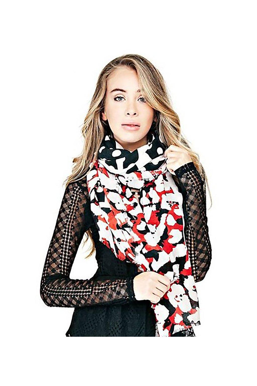 černo-červený šátek Guess