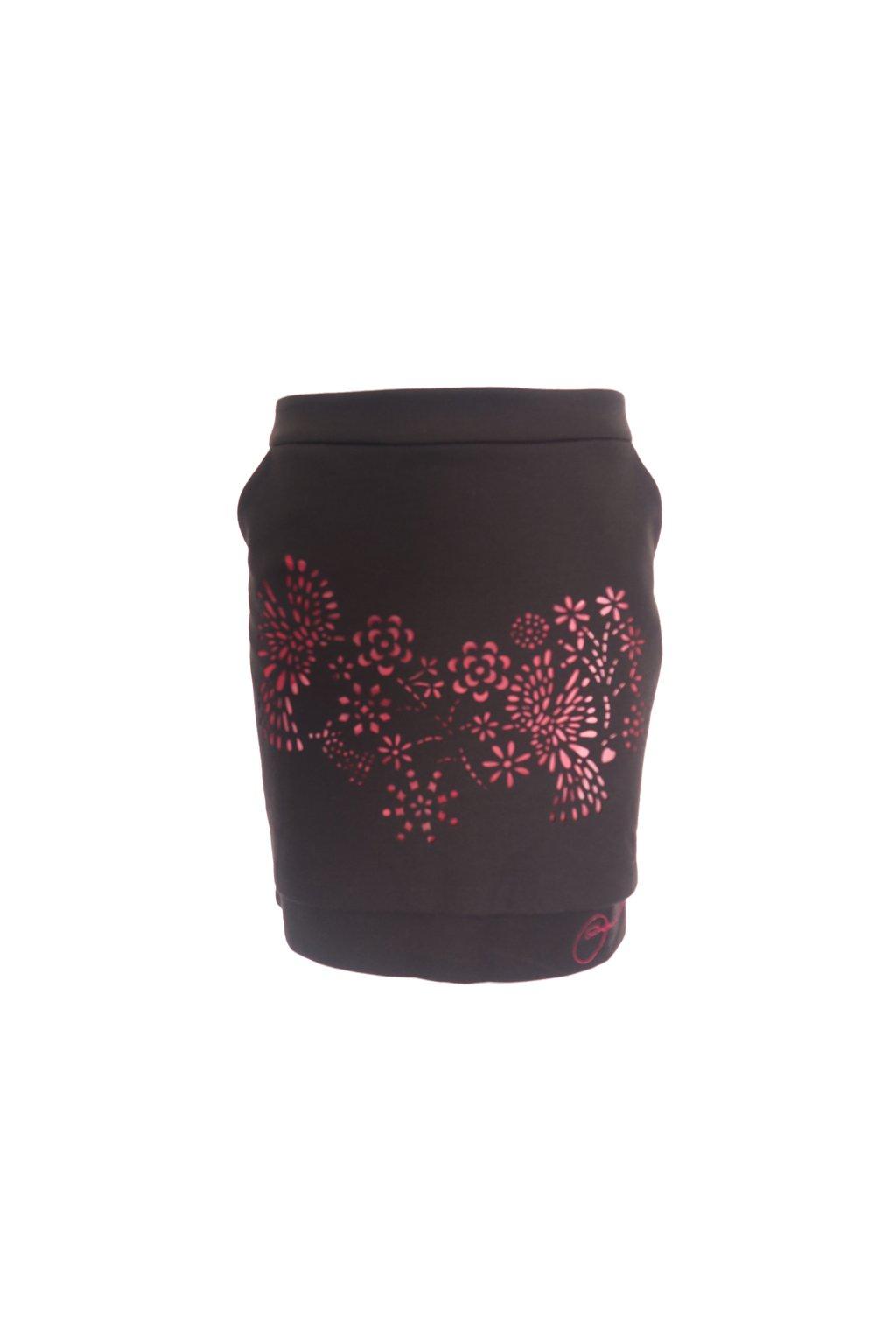 Desigual černá sukně s vínovými průstřihy