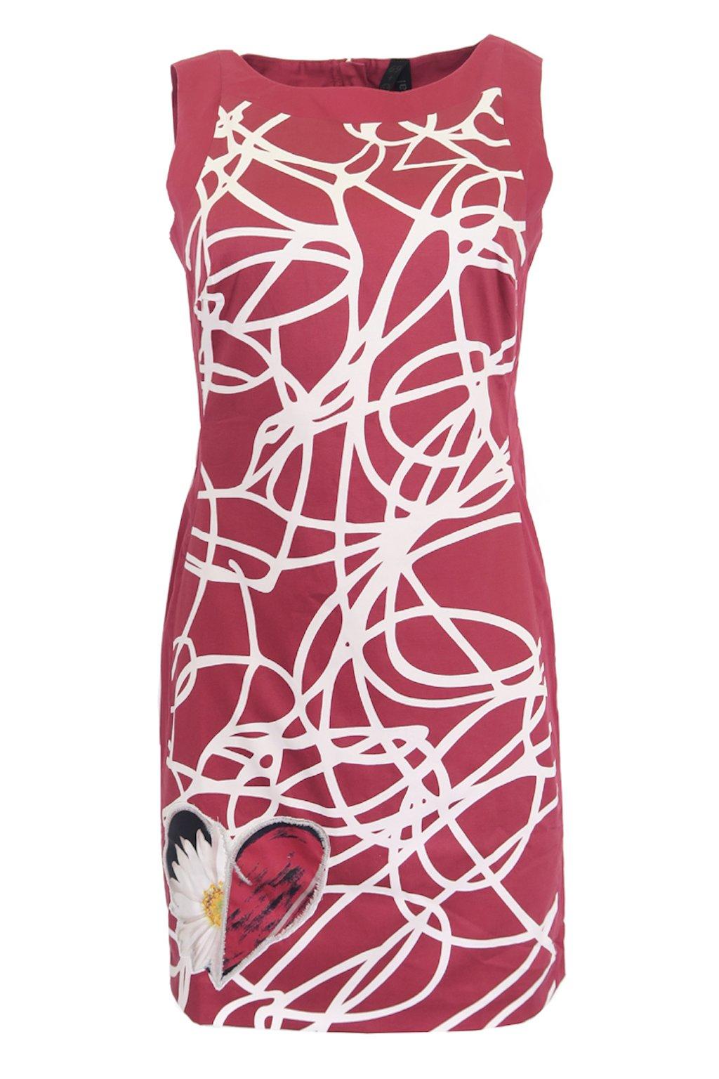 Vínové šaty Desigual s malbou