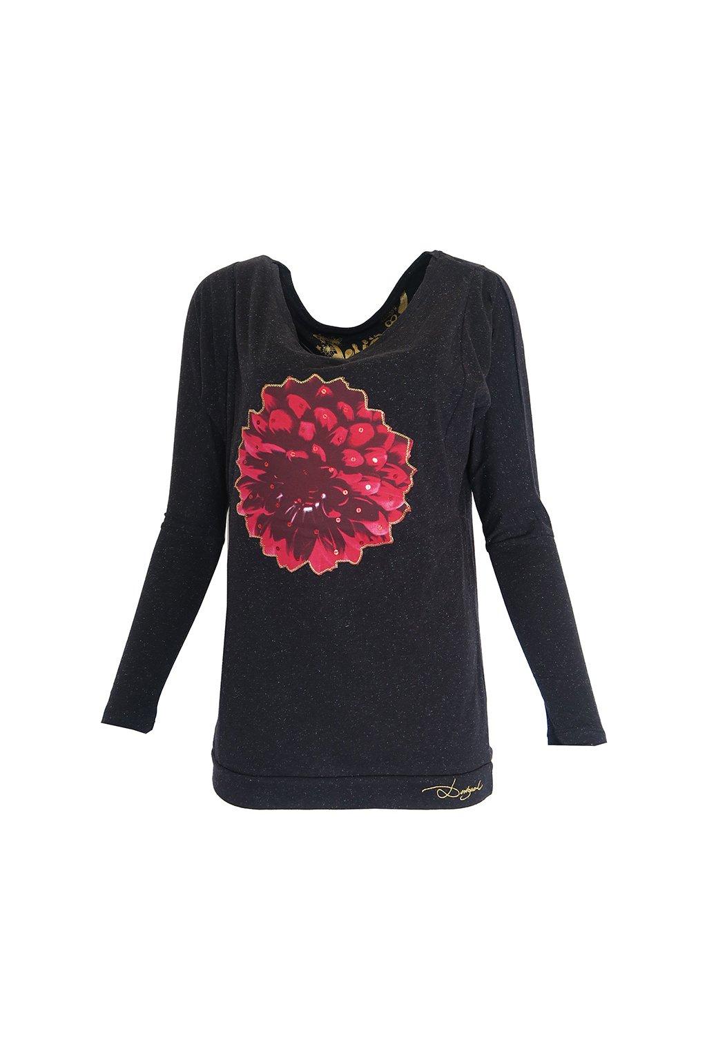 Černé tričko s rudou květinou DESIGUAL