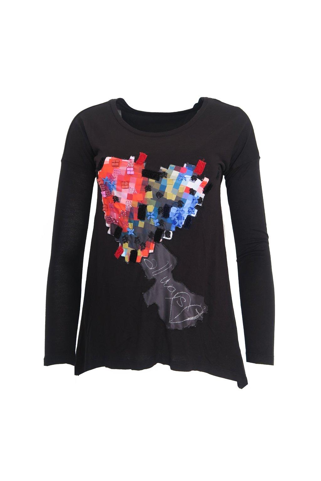 Černé tričko s korálkovým srdcem Desigual