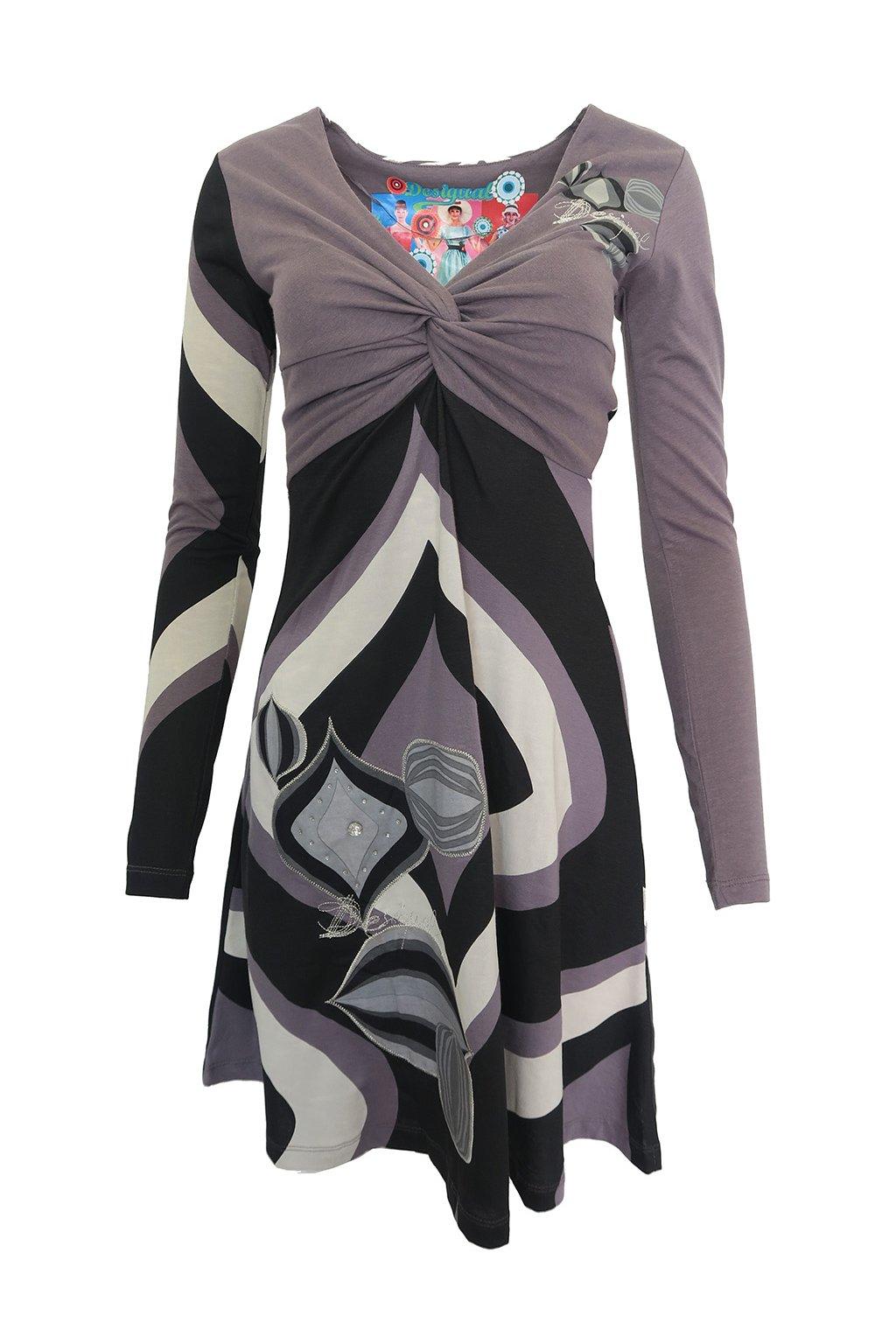 Vzorované šaty s kamínky Desigual