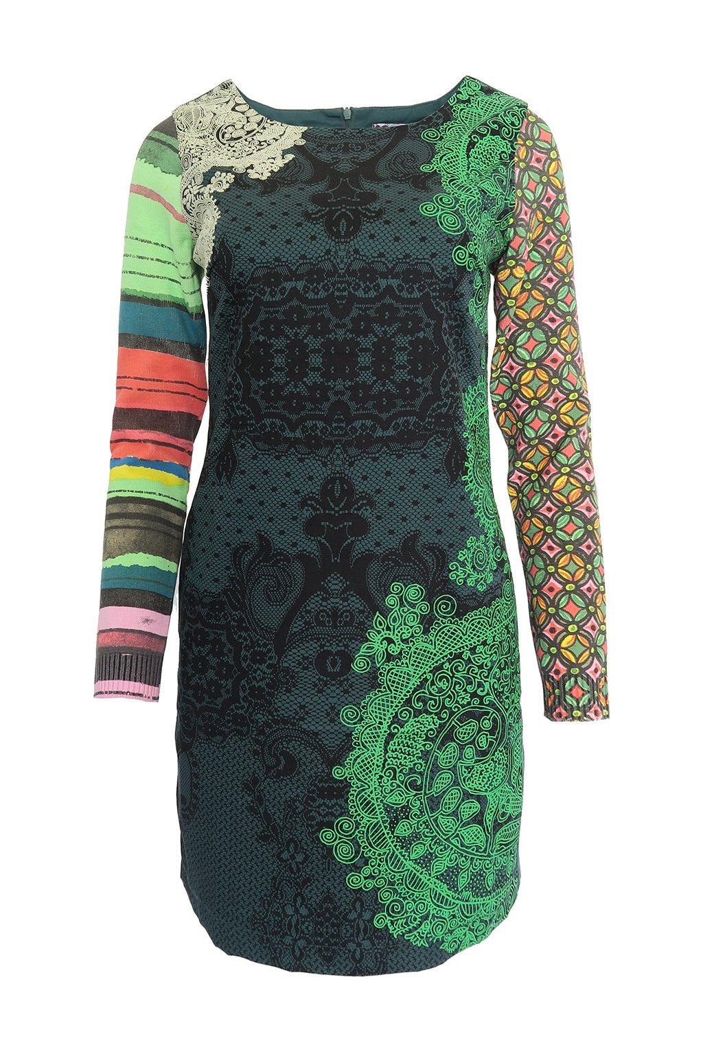 Zelené šaty s barevnými rukávy DESIGUAL