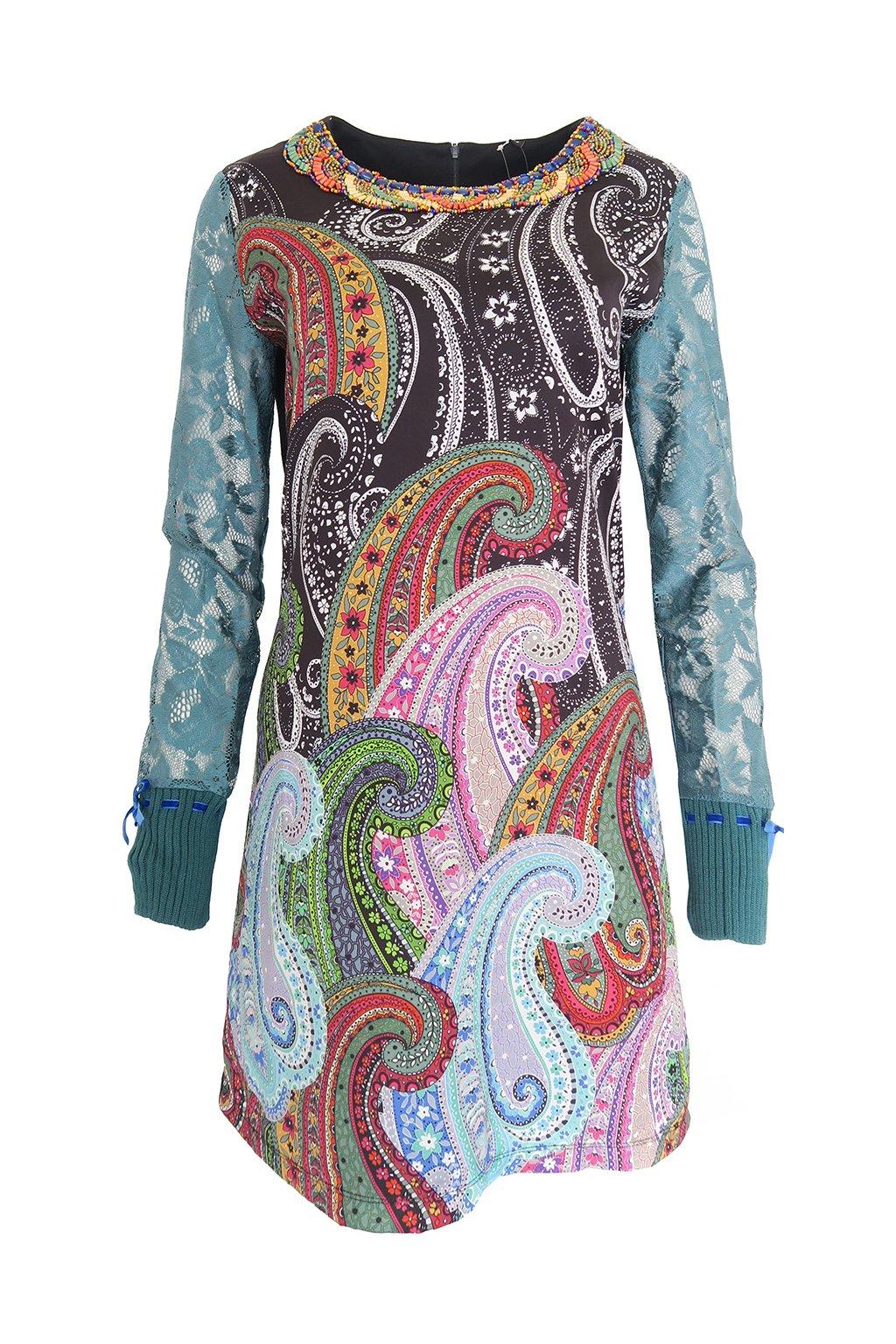Šaty s krajkovými rukávy DESIGUAL