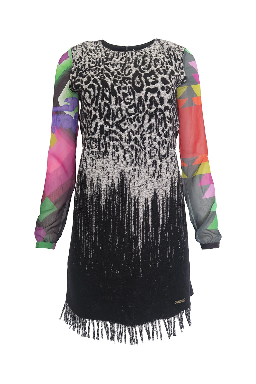 Černé šaty průsvitné rukávy DESIGUAL