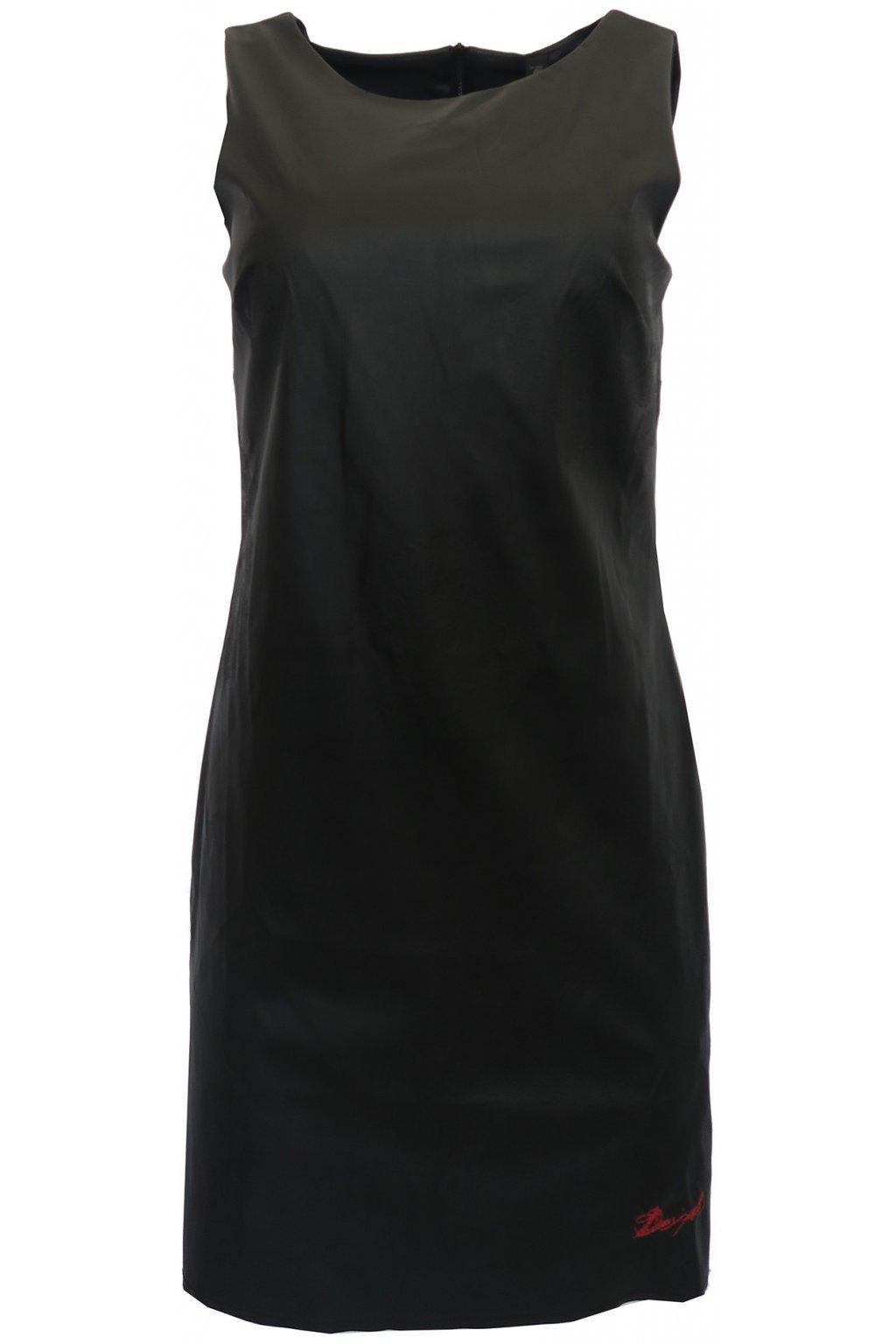 Koženkové černé šaty Desigual