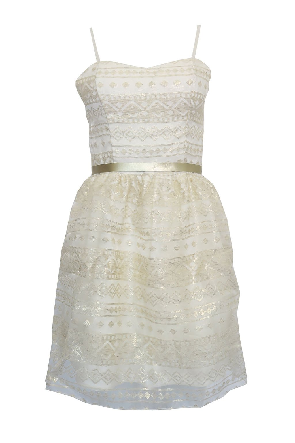 Bílozlaté šaty s mašlí Rinascimento