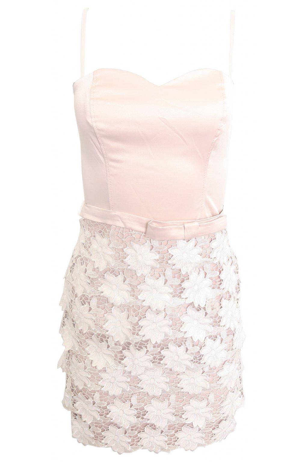 Pudrové krajkované šaty Rinascimento