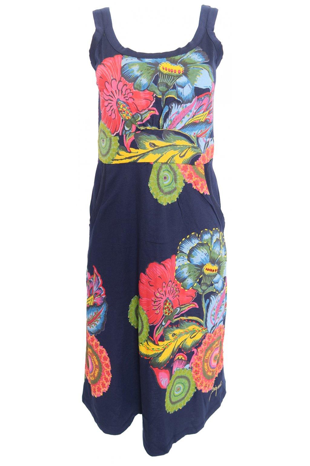 Tmavě modré šaty s květy Desigual