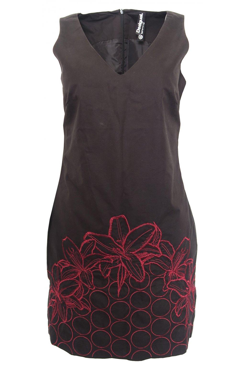 Černé šaty s červenými květy Desigual