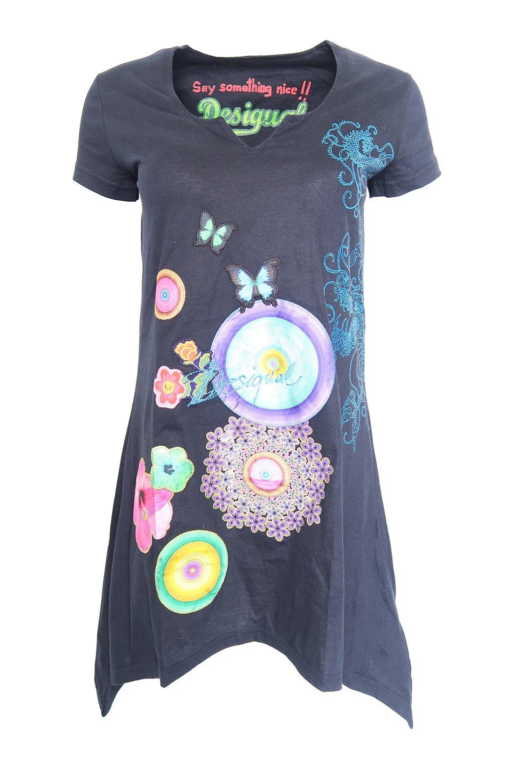 Prodloužené triko s barevným potiskem Desigual