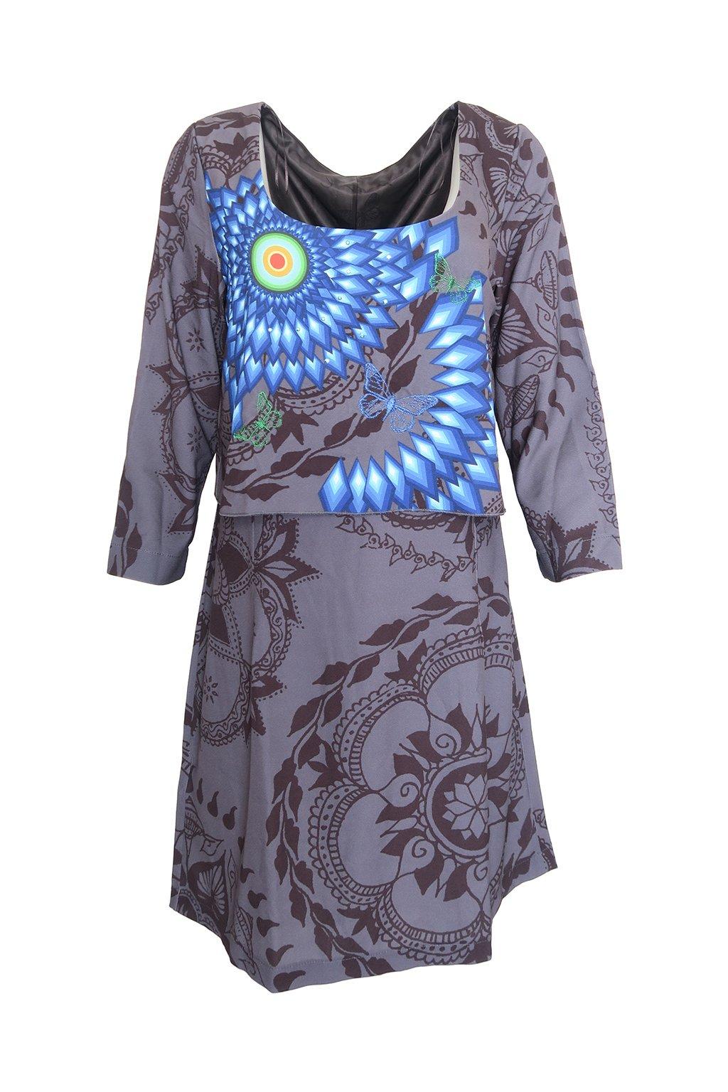 Desigual šedomodré šaty se vzorem