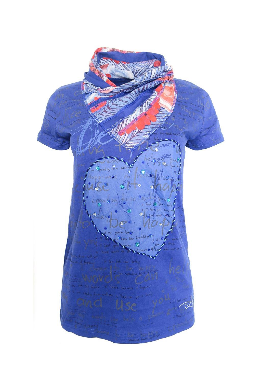 Desigual modré triko s řaseným límečkem