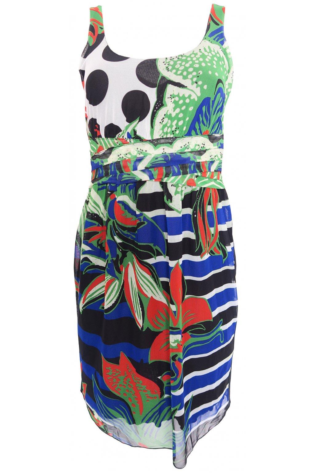 Desigual zelenočerné síťkované šaty