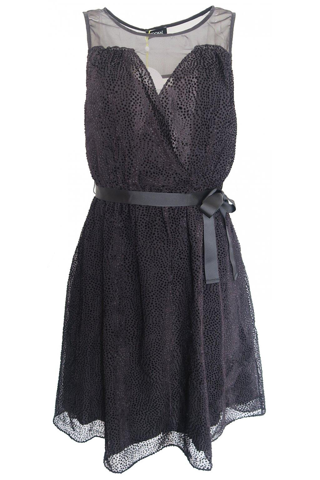 Černé šaty se stuhou Kookaï