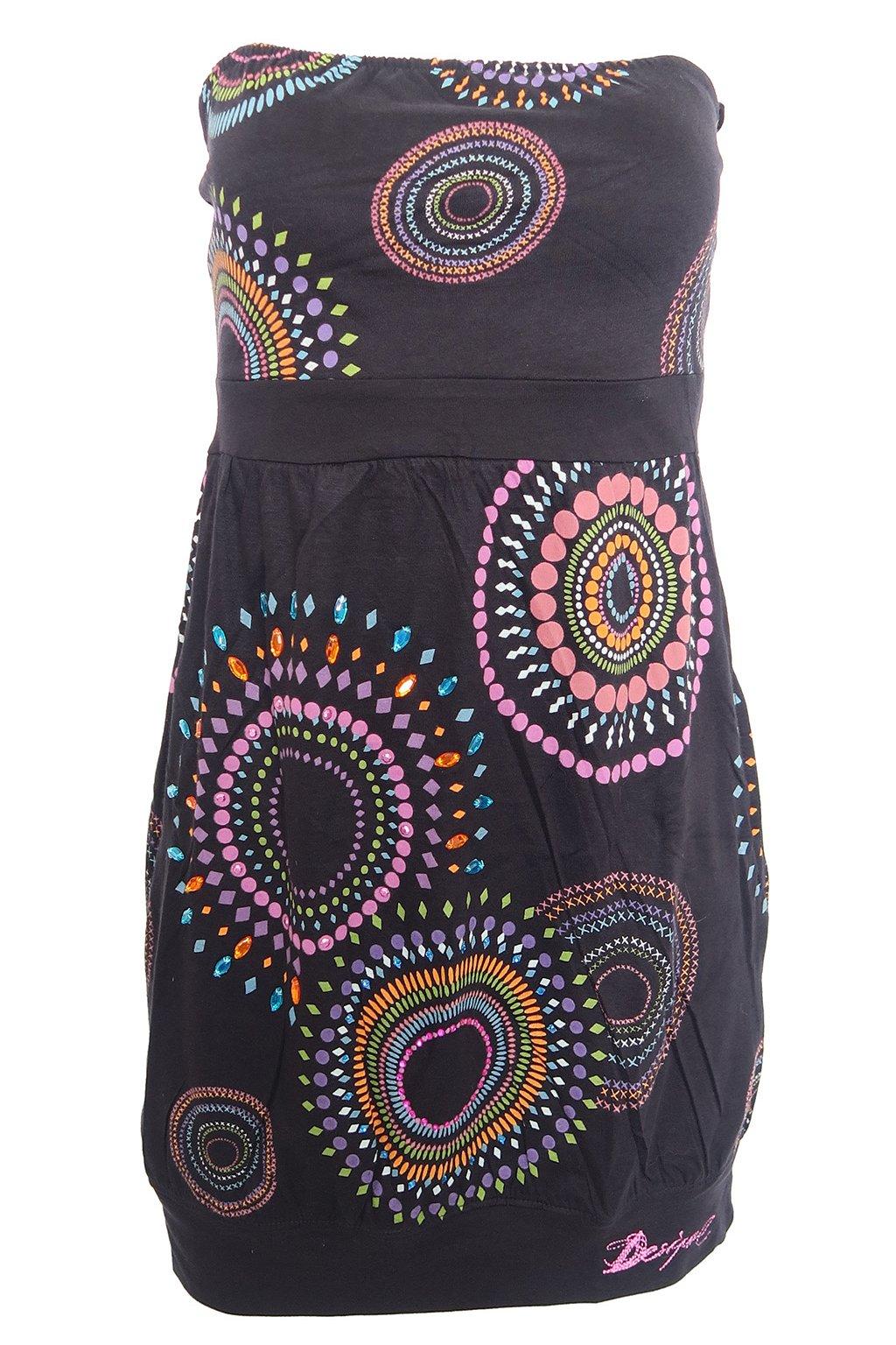 Desigual černé šaty s barevnými koly