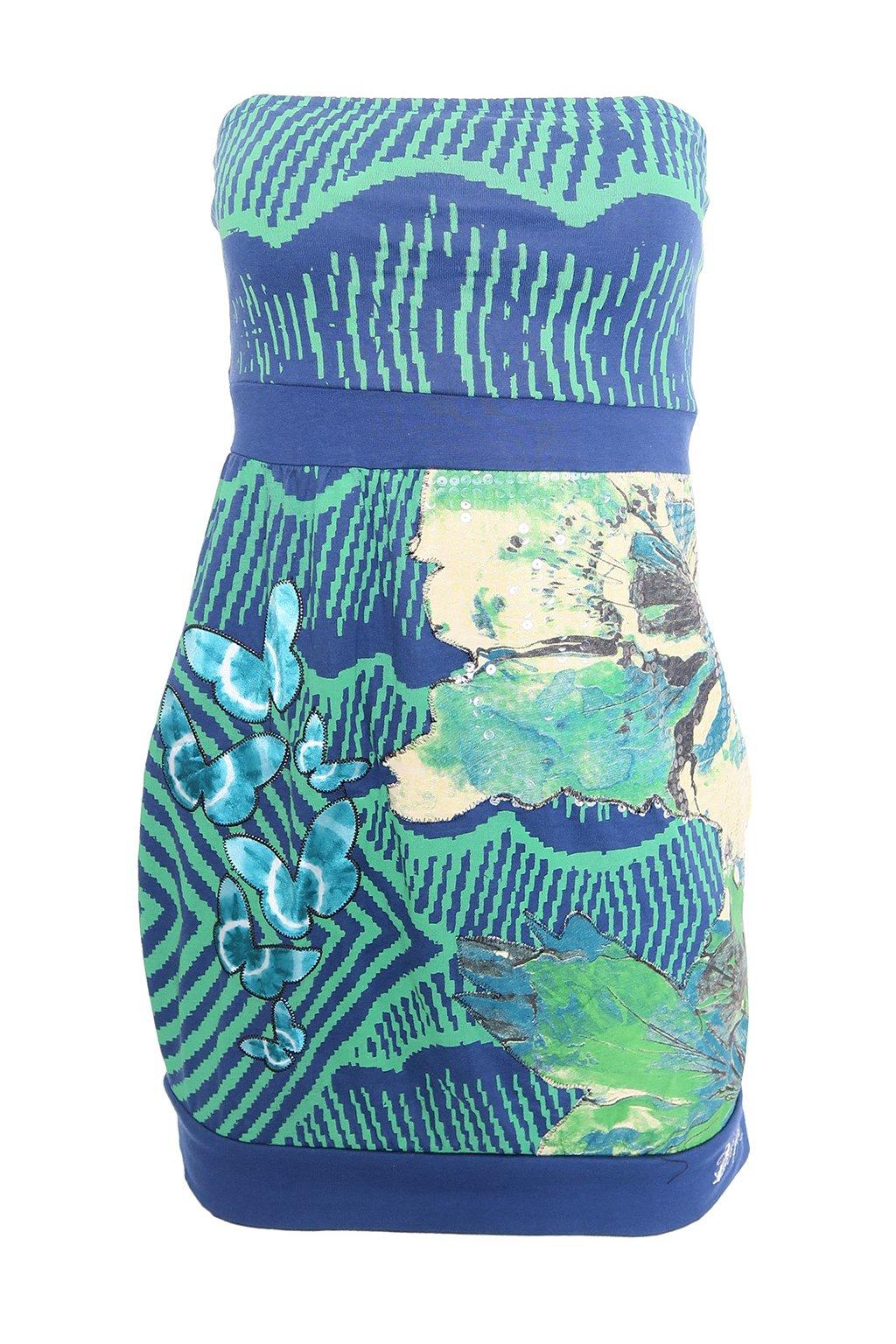 Desigual modrozelené šaty s flitry