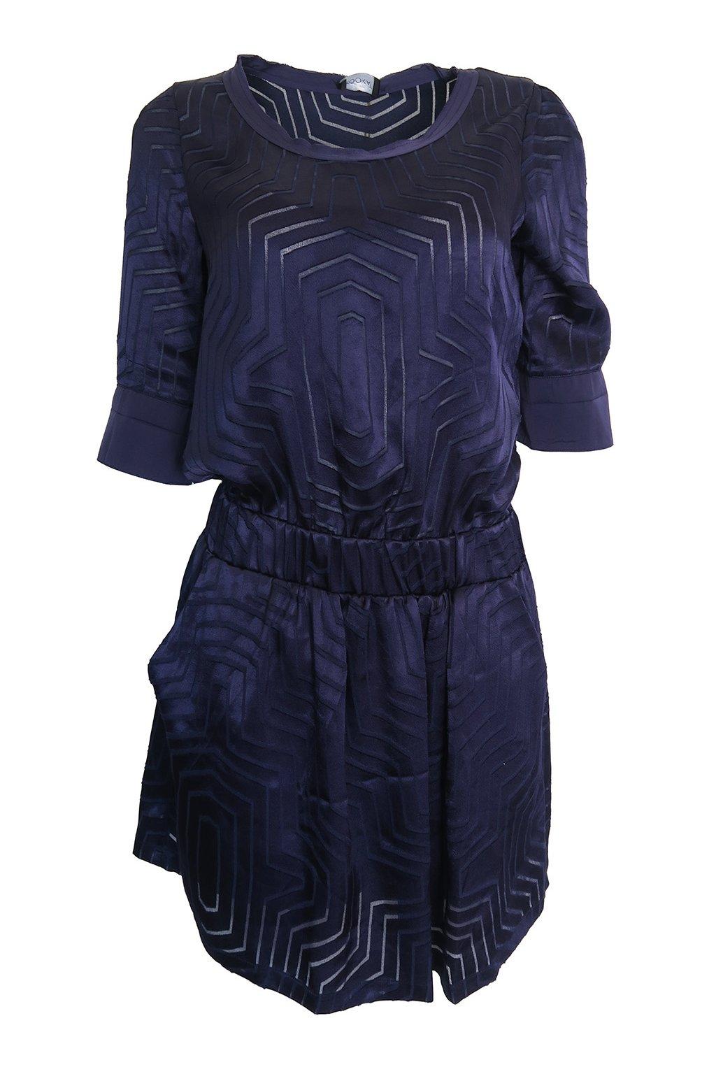 Modré saténové šaty Kookaï