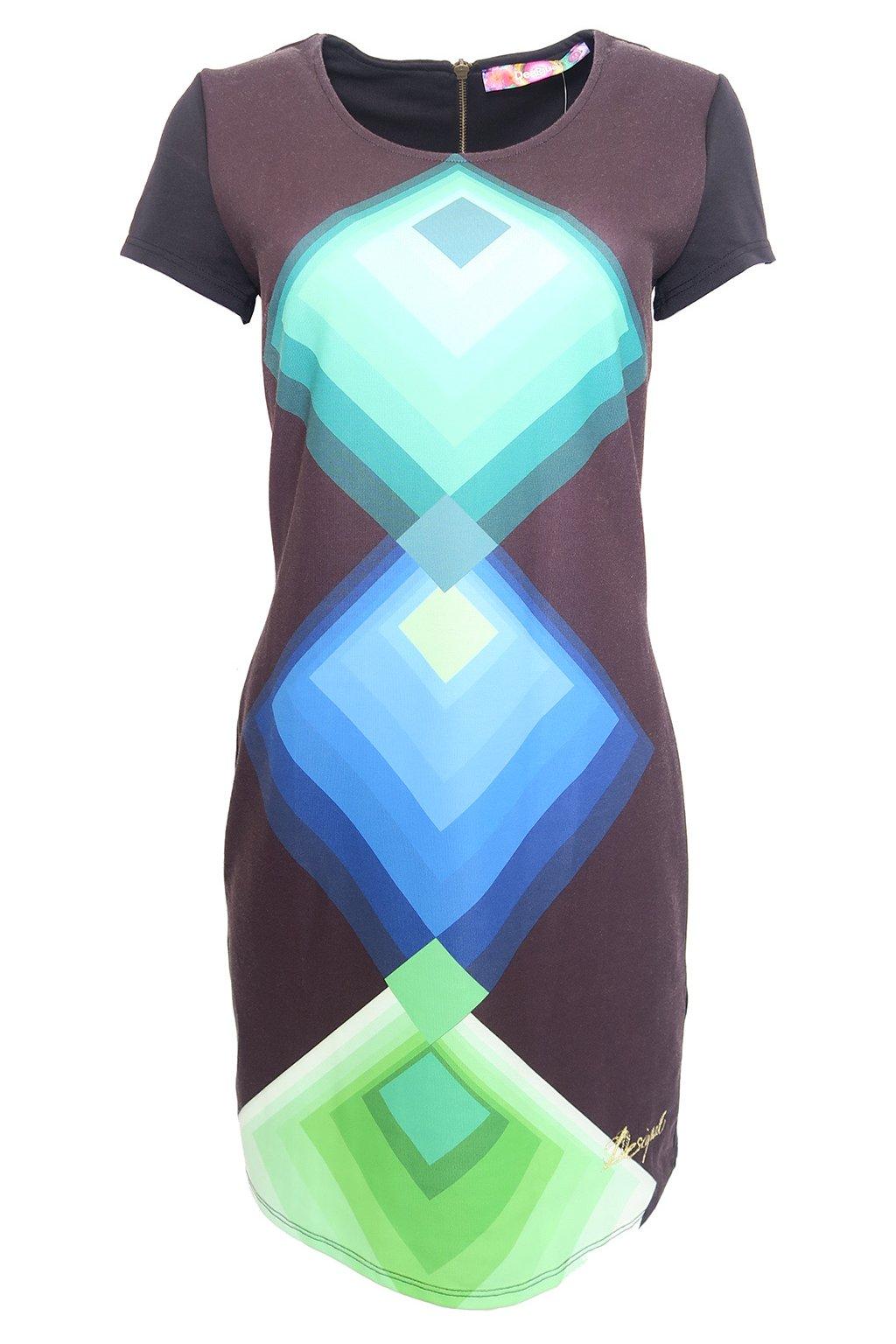 Desigual černé šaty se zelenomodrým vzorem
