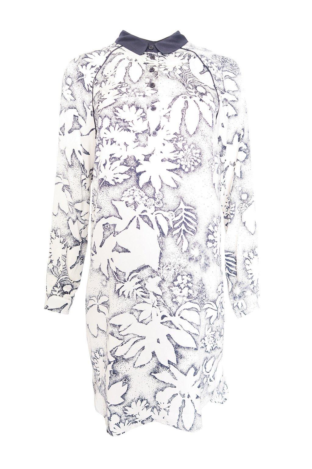 Košilové bílomodré šaty Kookaï