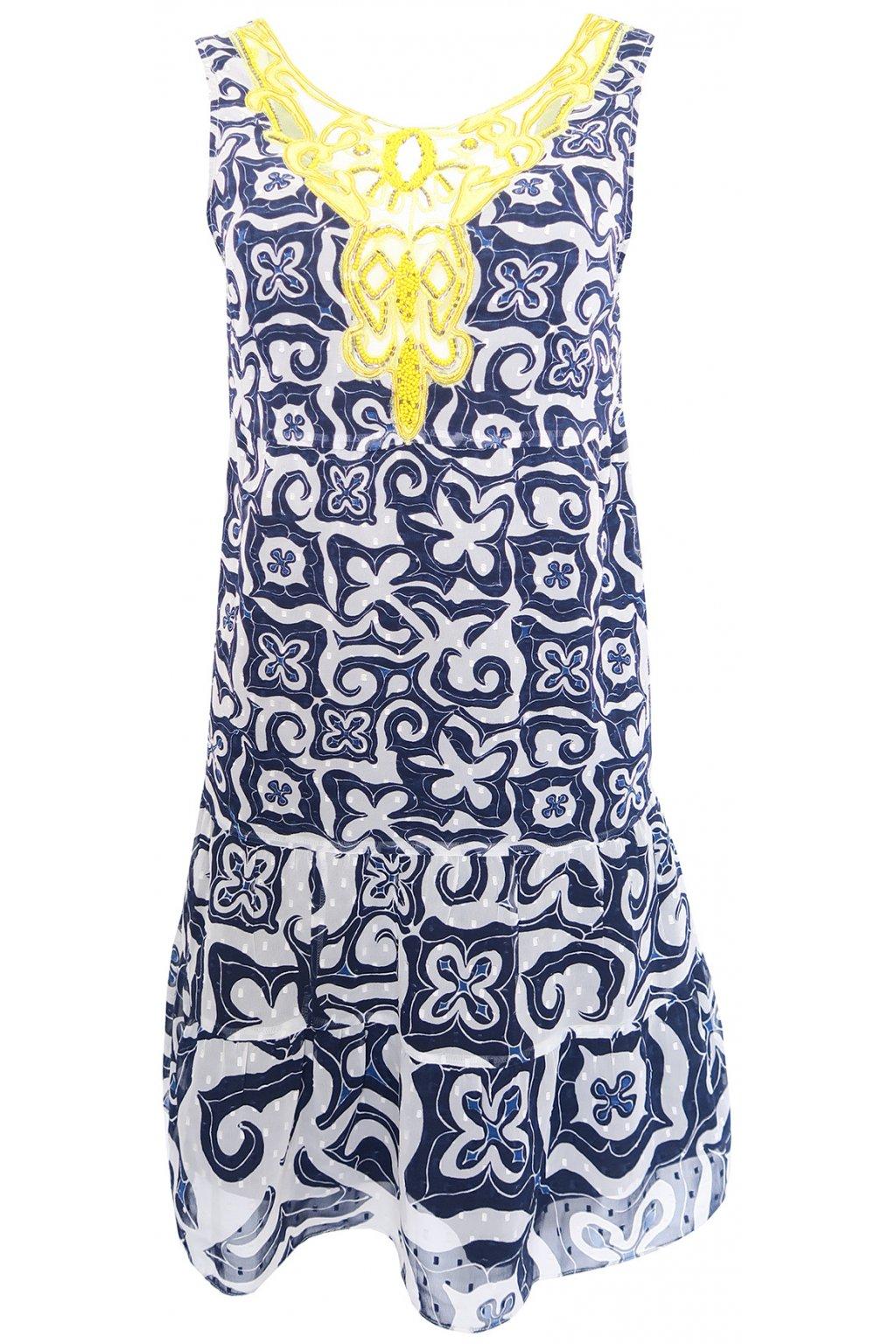 Desigual modrošedé šaty se žlutou síťkou