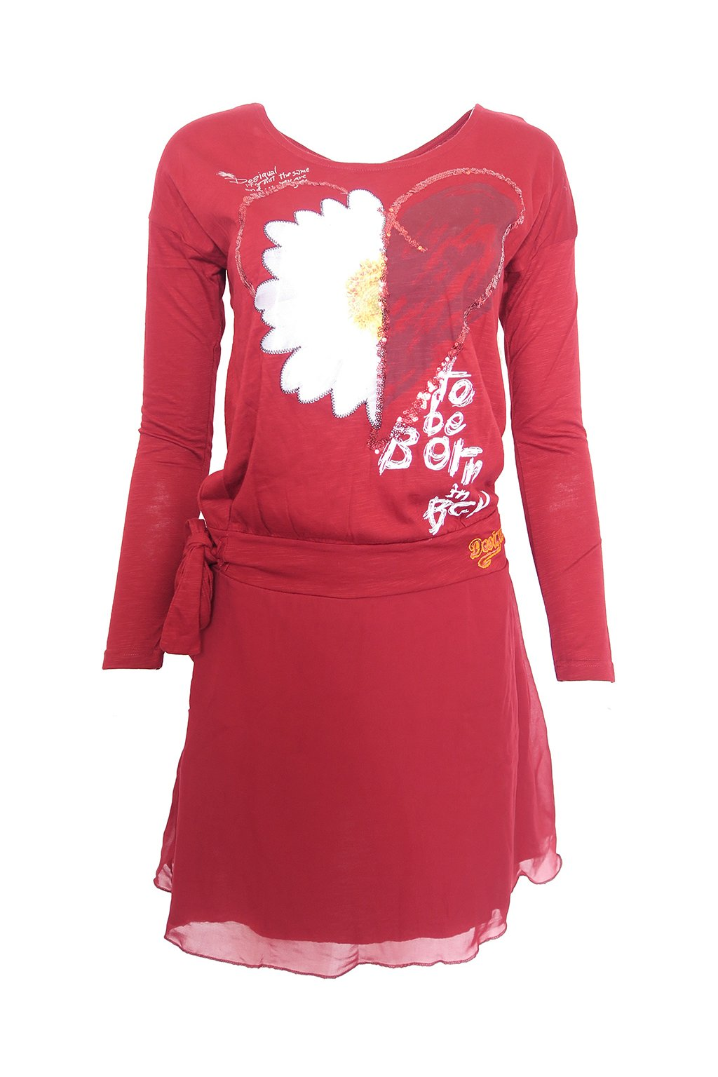 Desigual červené šaty s kopretinou