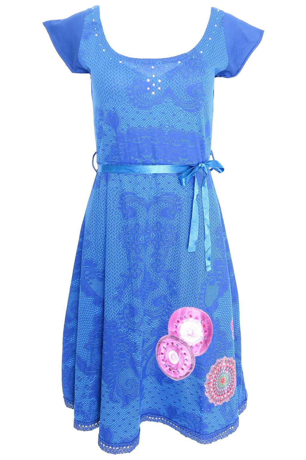 Desigual modré šaty s kamínky a vzory