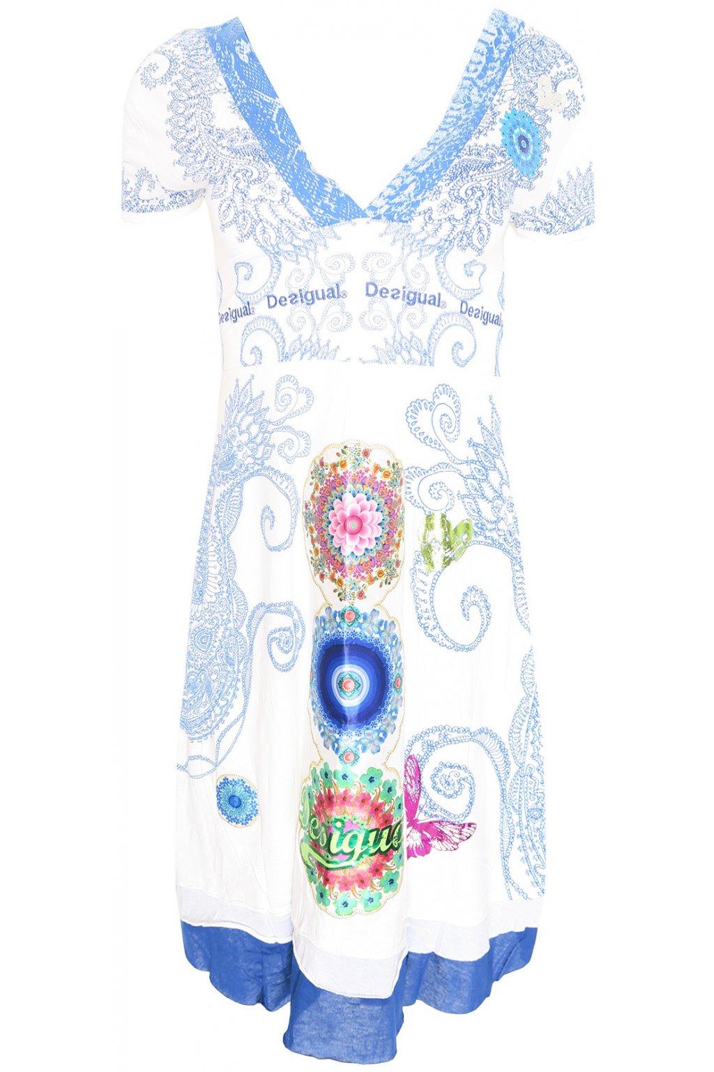 Desigual bílomodré šaty s barevnými květy