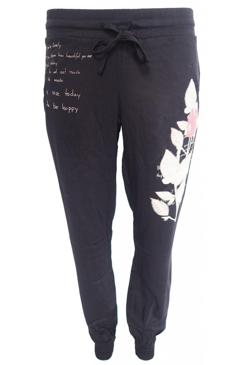 Desigual černé kalhoty s béžovým květem