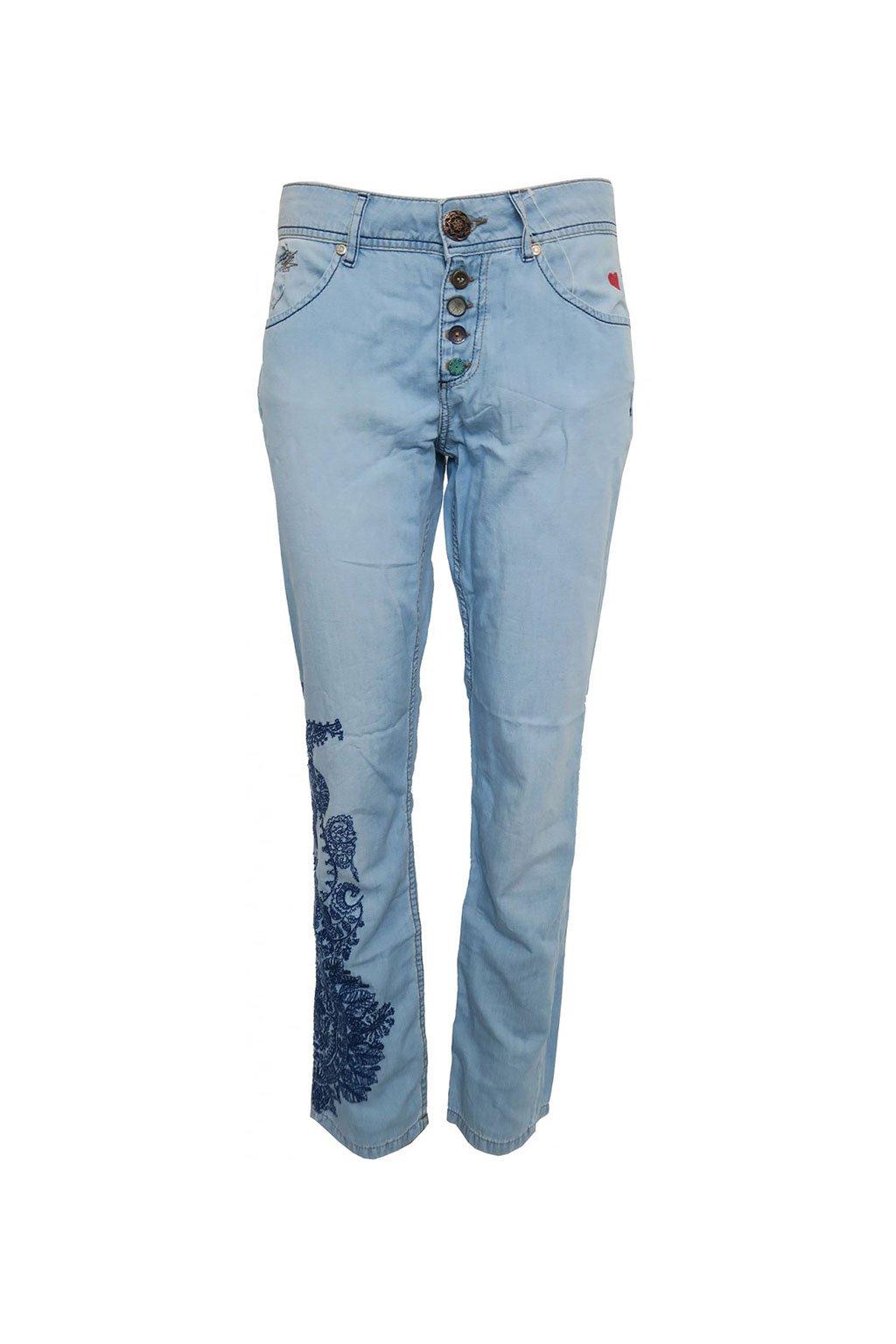 Desigual světle modré džíny s výšivkami