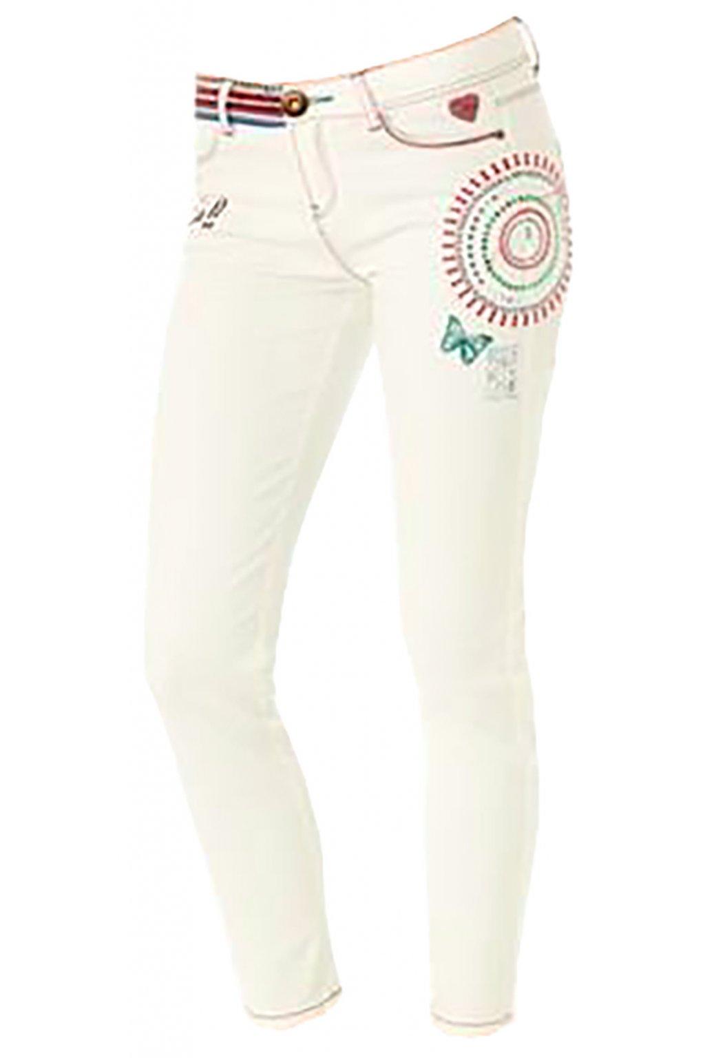 Desigual bílé zdobené kalhoty