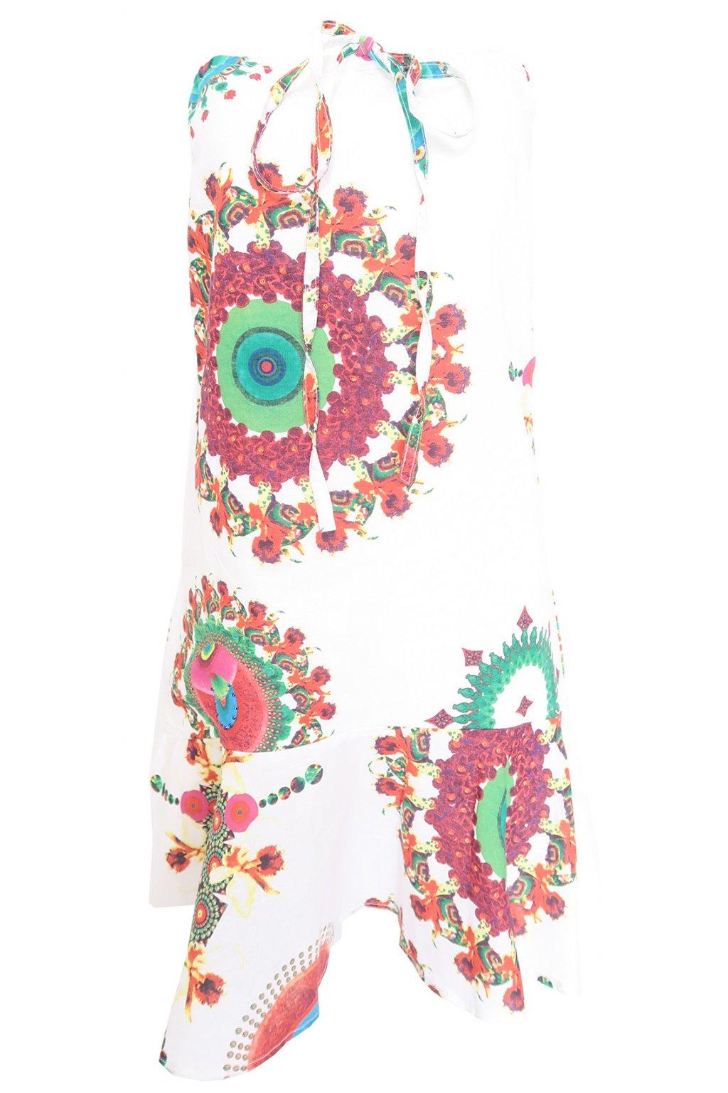 Desigual bílé šaty s barevnými vzory bez ramínek