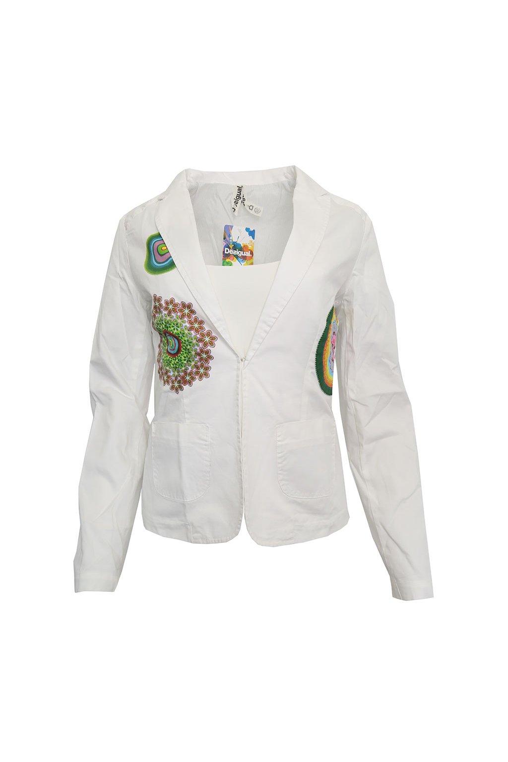 Bílé sako s barevnými koly Desigual