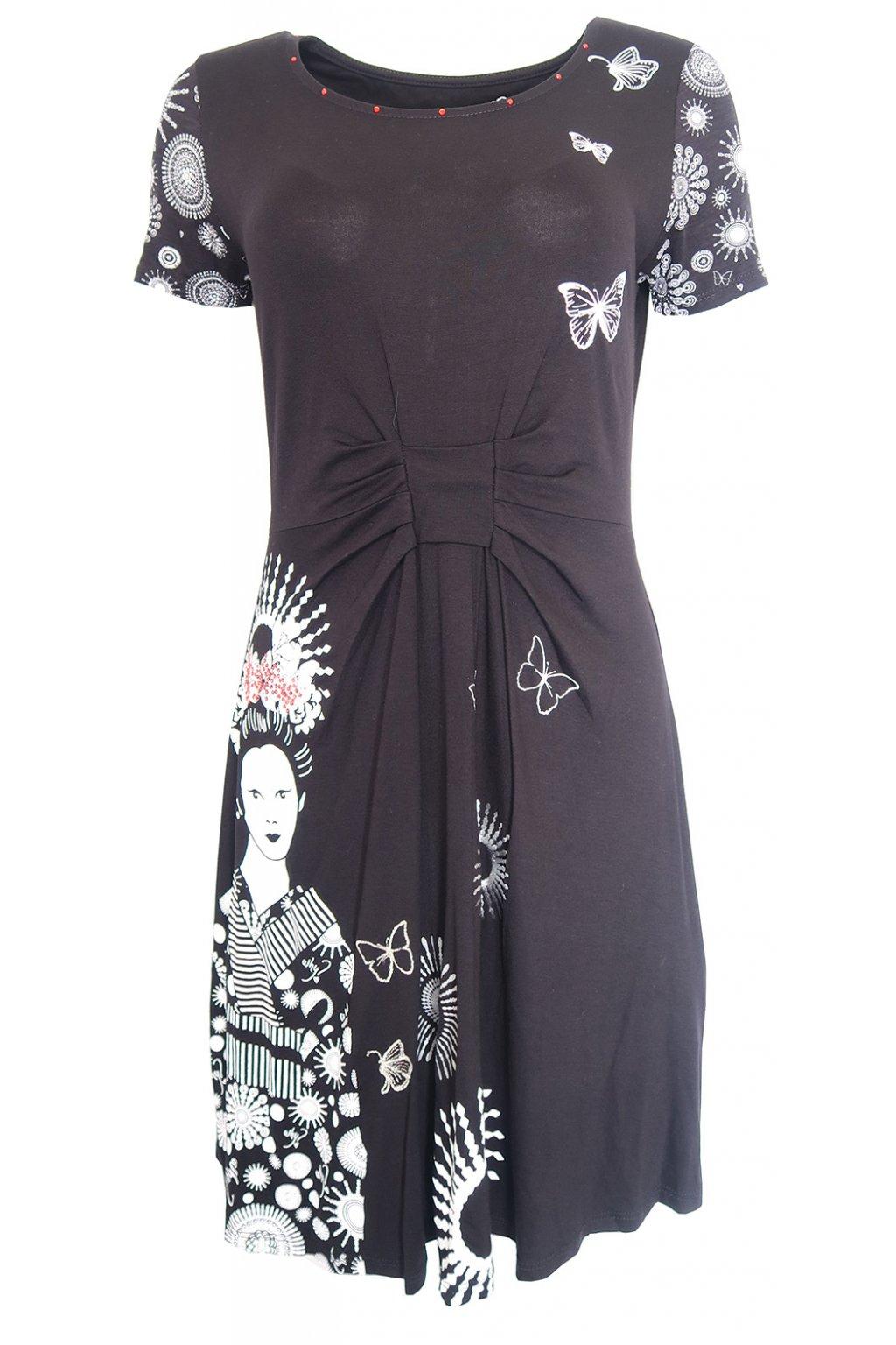Desigual černé šaty s bílým potiskem