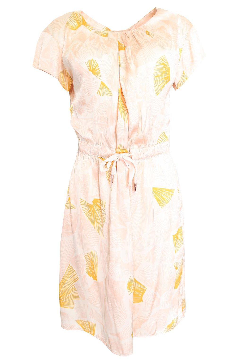 Světle růžové šaty s oranžovým vzorem Kookai