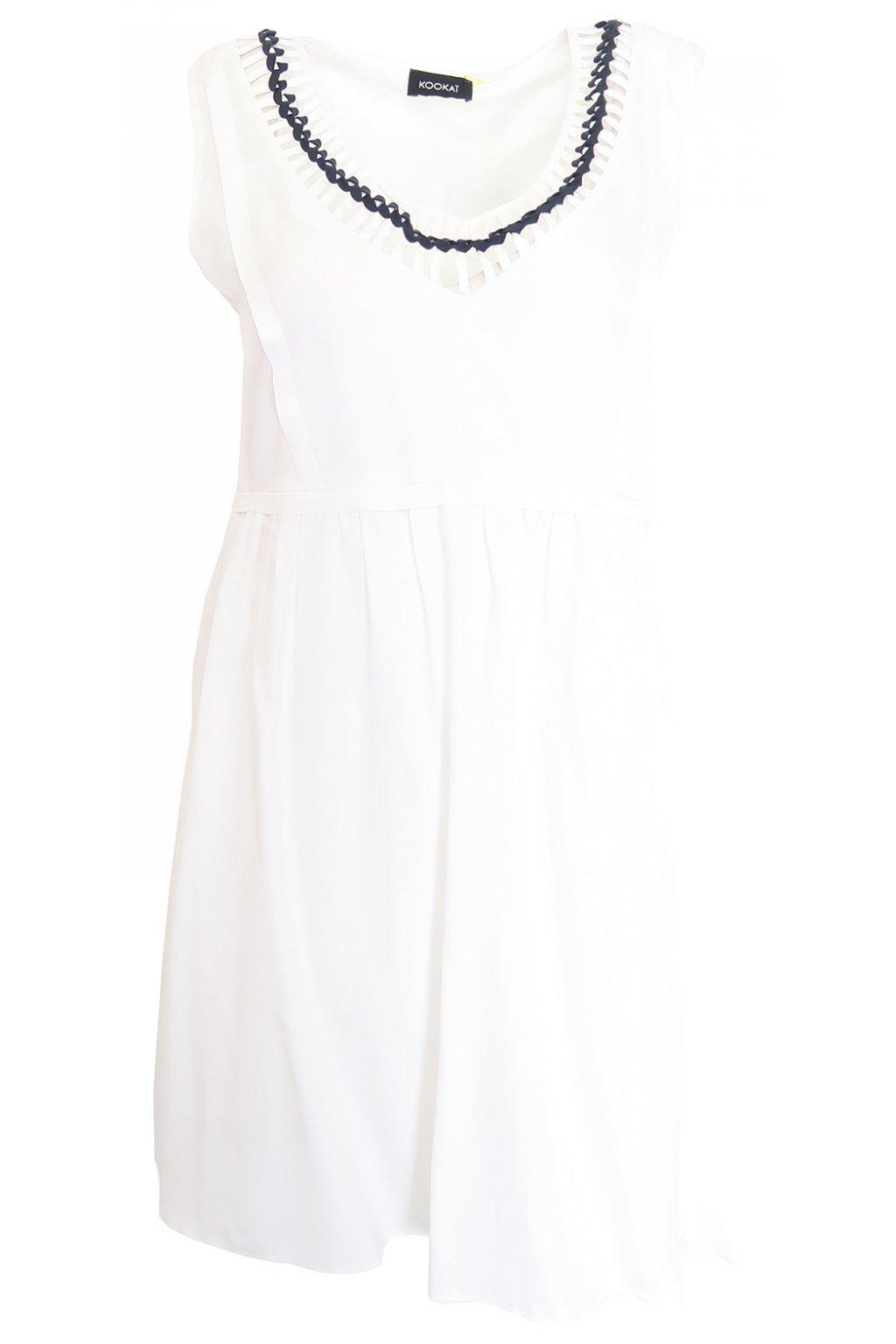 Bílé šaty se zdobeným výstřihem Kookai