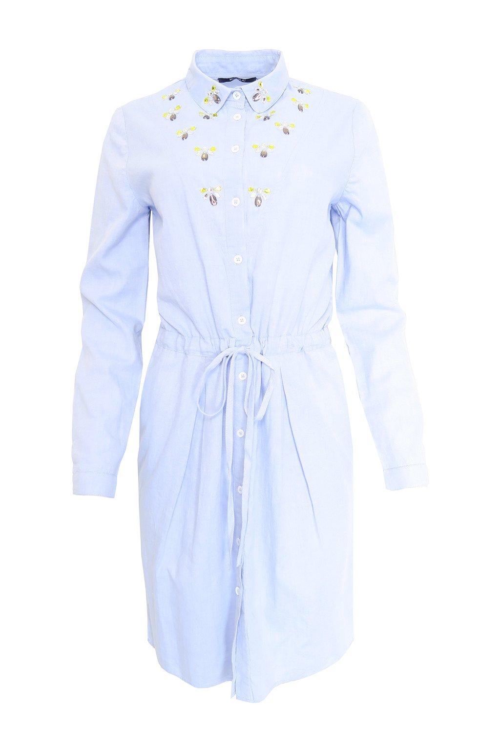 Světle modré šaty s korálky Kookai