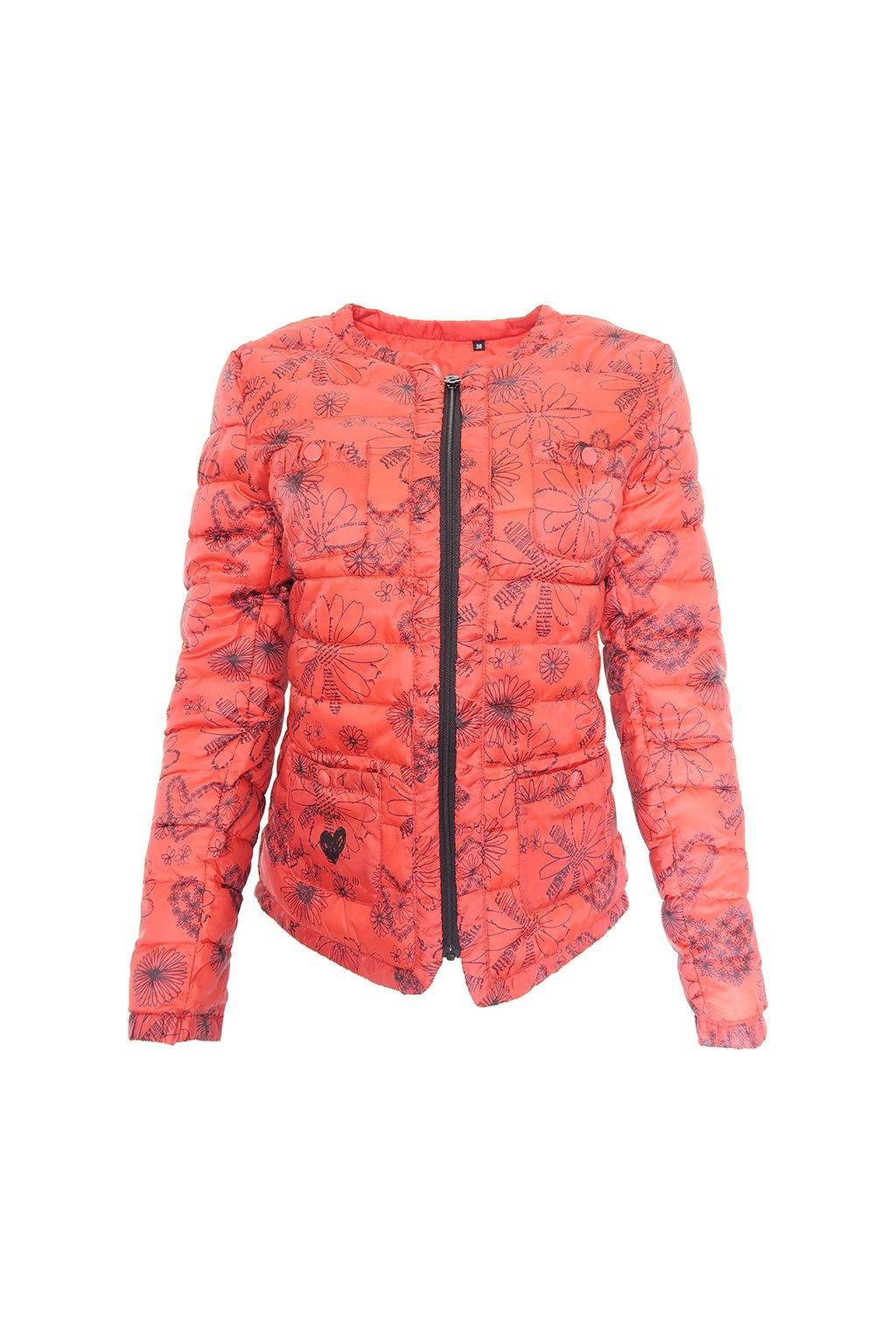 Červená bunda s černými vzory Desigual