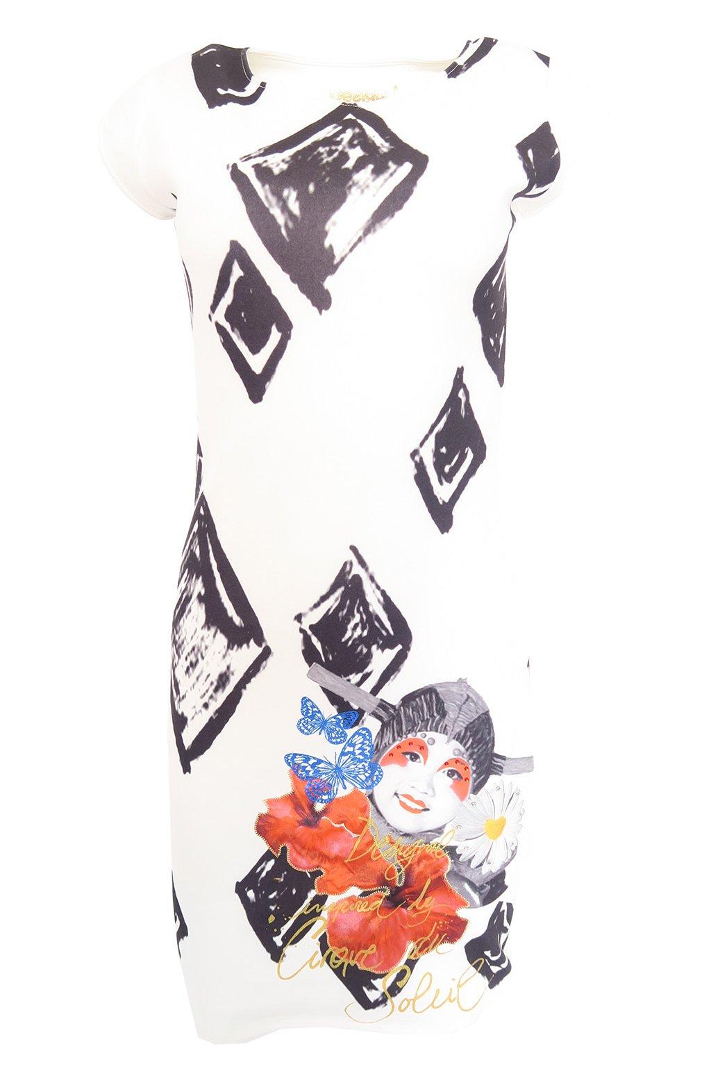 Desigual bílé šaty s černými ornamenty