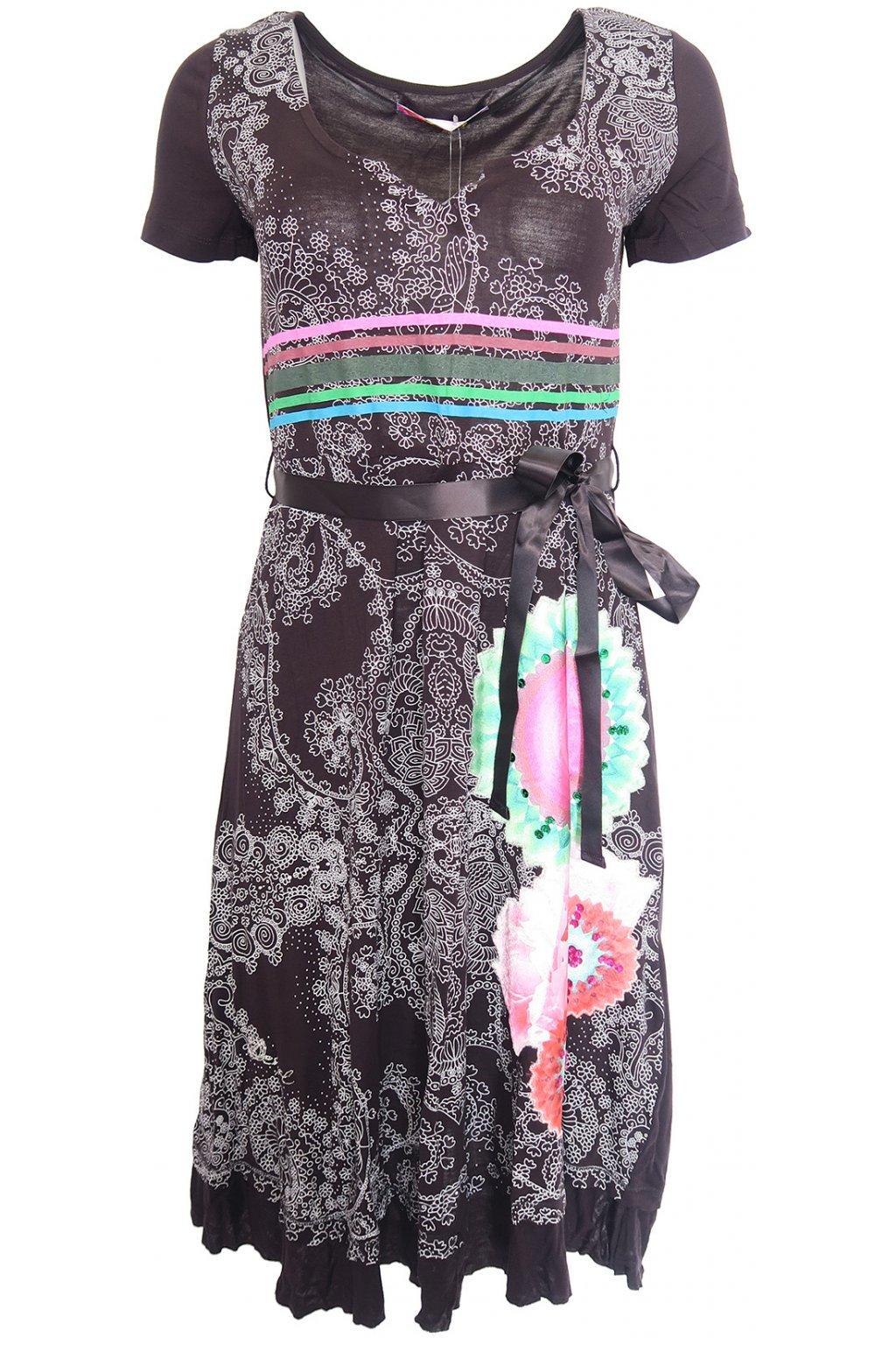 Desigual černé šaty s barevnými pruhy