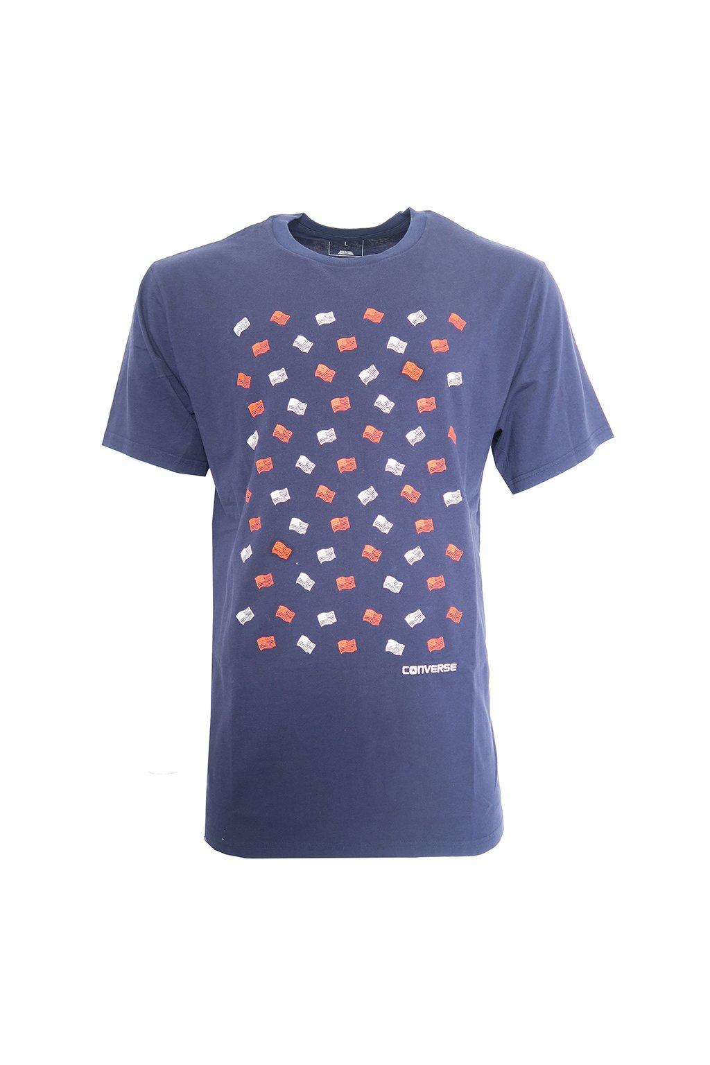 Modré triko s potiskem vlajek Converse