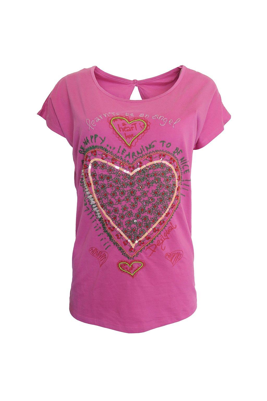 Desigual růžové triko srdce