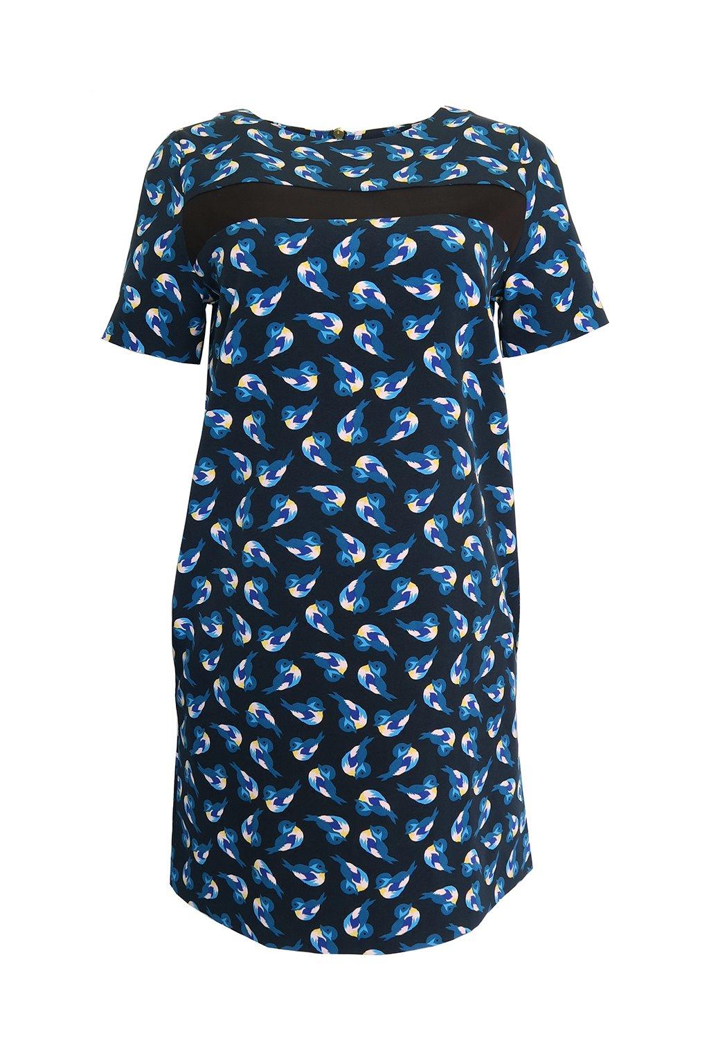 Barevné šaty s ptáčky Kookai