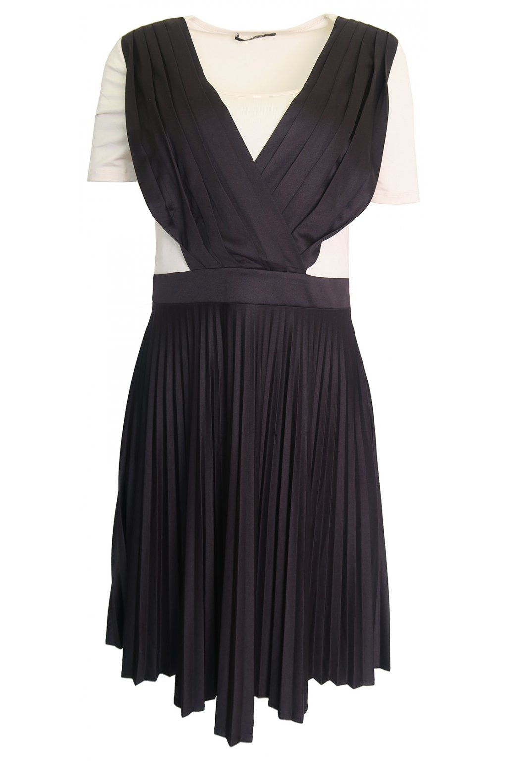 Plisované krémovočerné šaty Kookai