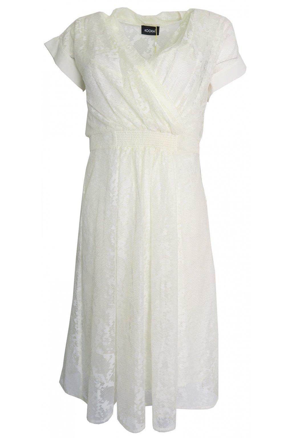 Smetanové krajkové šaty Kookai
