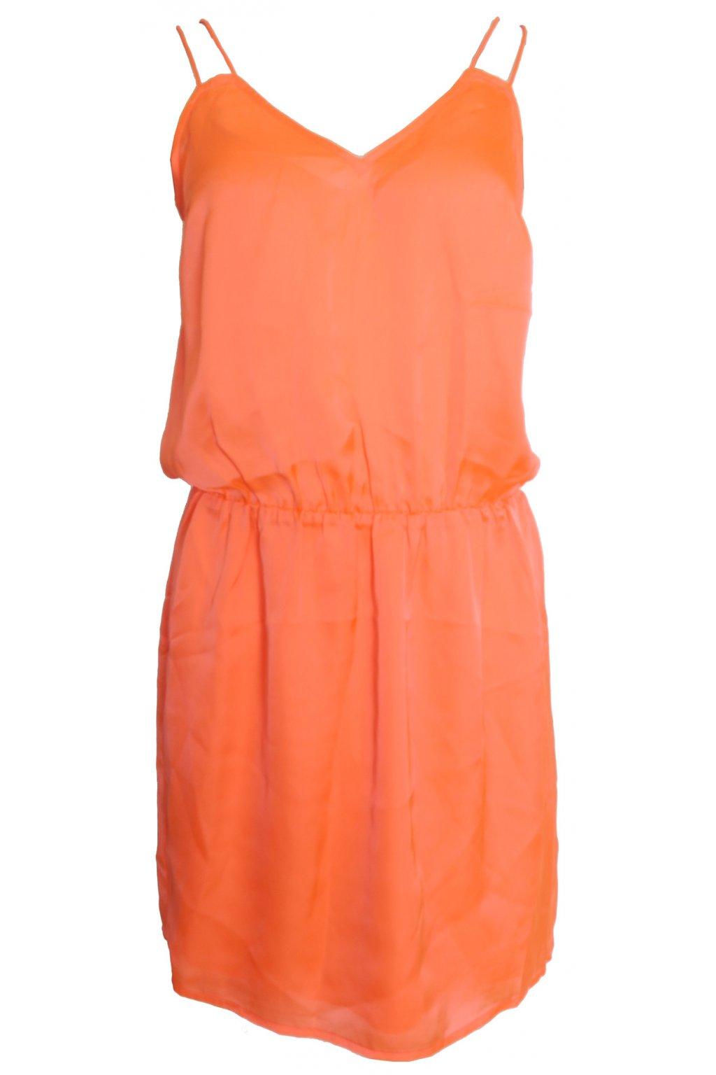 Neonově oranžové šaty Naf Naf